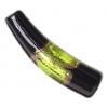 Glass Lamp Bead 35x8mm Horn Black/Olivine/Gold Silver Foiled